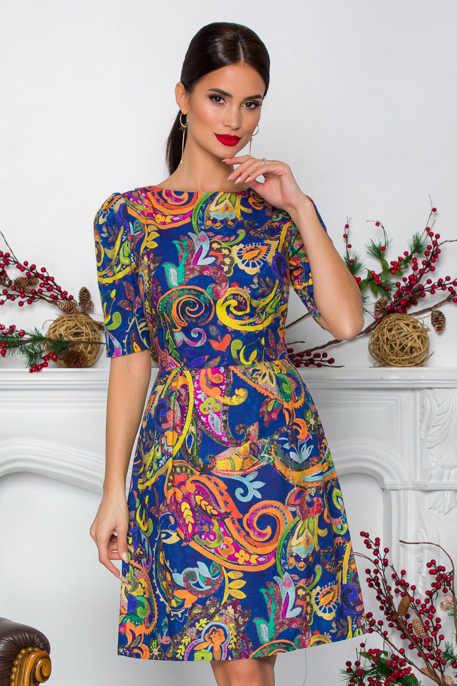 Rochie Anastasia albastra cu imprimeuri multicolore